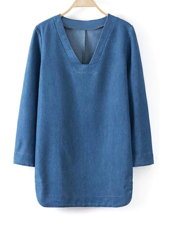 buy Blue Denim V Neck Long Sleeve Dress - BLUE S