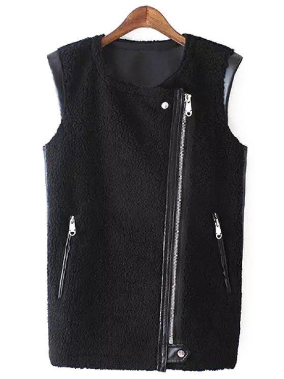 chic Faux Leather Spliced Zipper Flocking Waistcoat - BLACK S