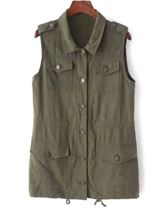 hot Turn Down Collar Solid Color Waistcoat - ARMY GREEN S