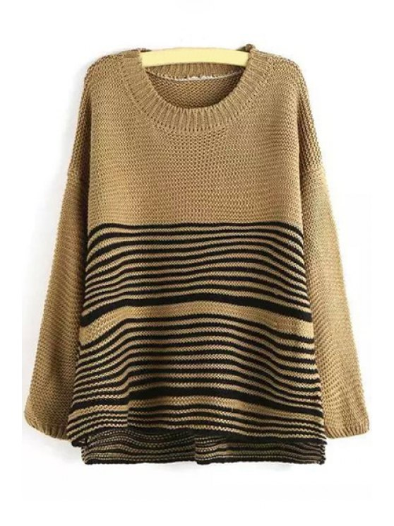 lady Loose-Fitting Striped Jumper - KHAKI M