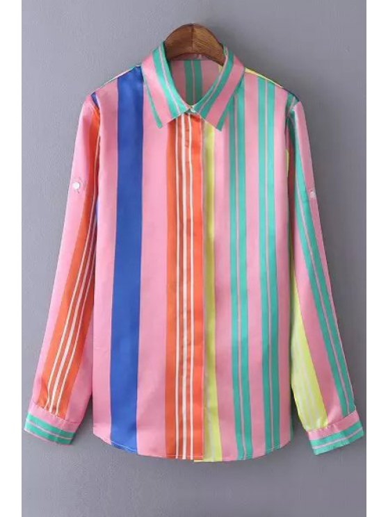 new Long Sleeve Colorful Striped Shirt - COLORMIX M
