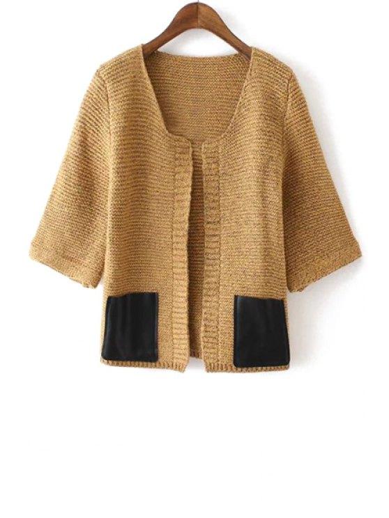 hot Half Sleeve Faux Leather Pocket Cardigan - KHAKI ONE SIZE(FIT SIZE XS TO M)
