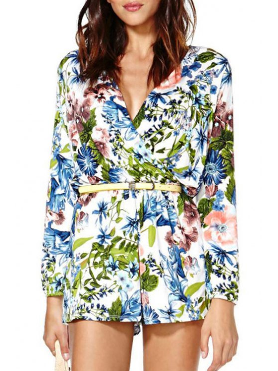 best V Neck Leaves Floral Print Long Sleeve Romper - COLORMIX S
