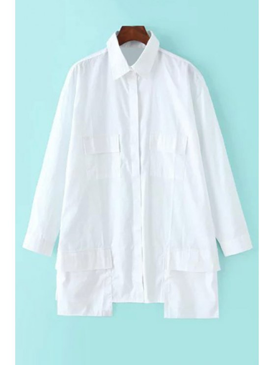 outfits White Shirt Neck Long Sleeve Pockets Shirt - WHITE S