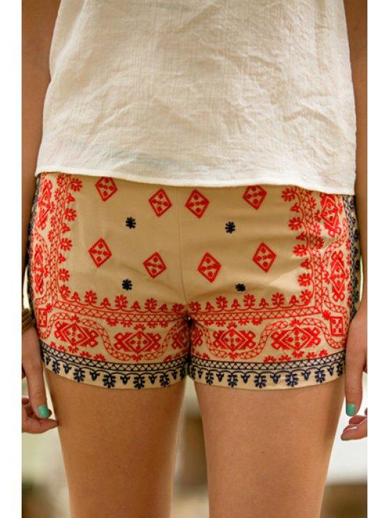 shop Color Block Printed Shorts - KHAKI S