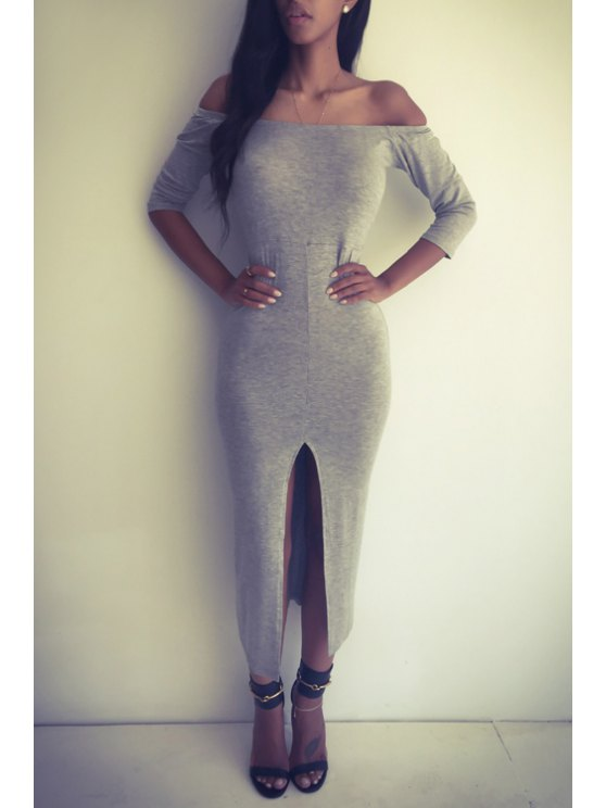 best Off-The-Shoulder Front Slit Bodycon Dress - GRAY S