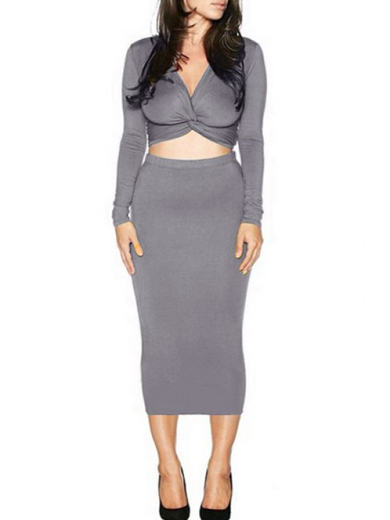 ladies Long Sleeve Front Twist Crop Top and Pencil Skirt Suit - GRAY S