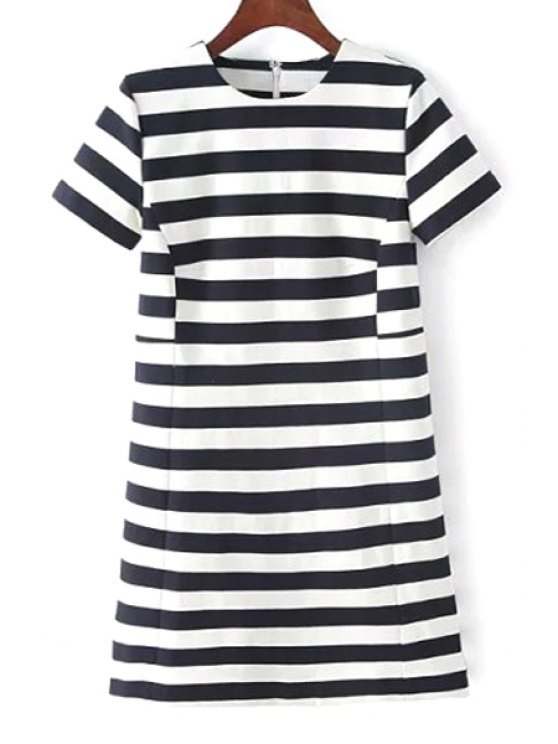 new Stripes Round Neck Short Sleeve Dress - WHITE AND BLACK S