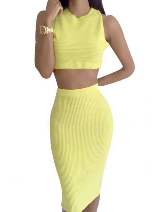 unique Sleeveless Hollow Back Crop Top + Pencil Skirt Twinset - YELLOW S