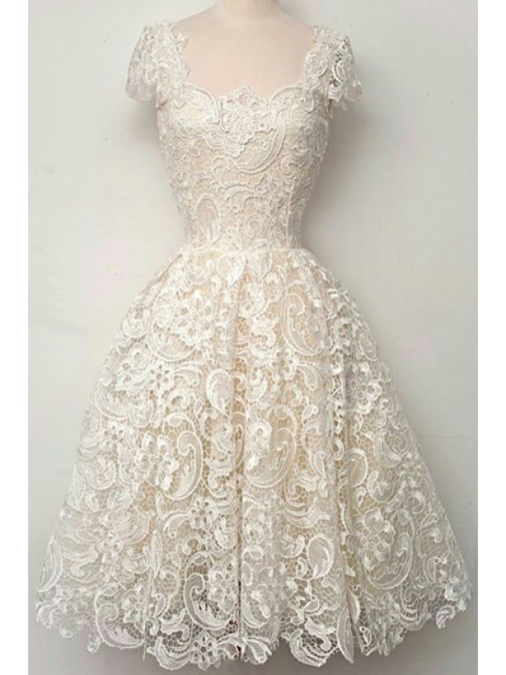 lady Openwork Lace Hook Ball Gown Dress - WHITE S