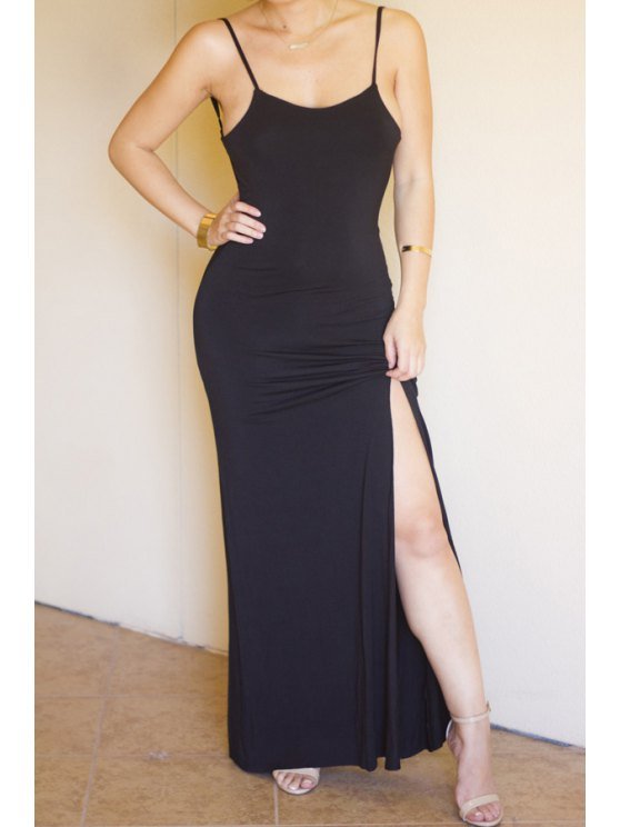 best Spaghetti Strap Backless Sleeveless Black Dress - PURPLISH BLUE S
