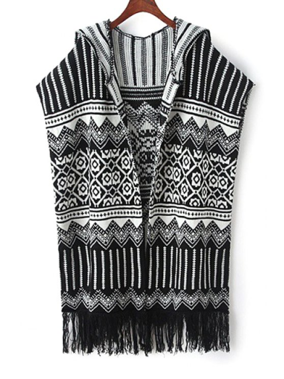 online Geometric Pattern Hooded Sleeveless Cardigan - WHITE AND BLACK ONE SIZE(FIT SIZE XS TO M)