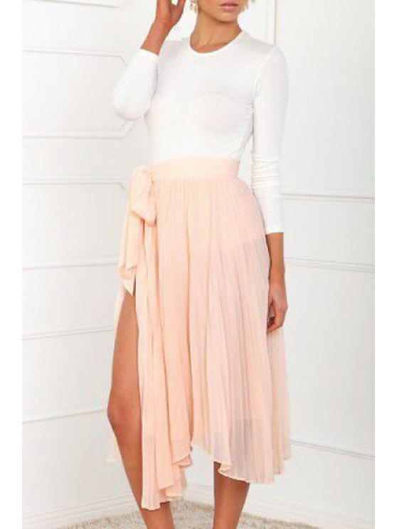 latest White Long Sleeve T-Shirt + Solid Color Skirt - WHITE S