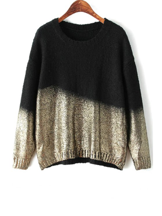 fashion Black Gilding Long Sleeve Sweater - BLACK ONE SIZE(FIT SIZE XS TO M)