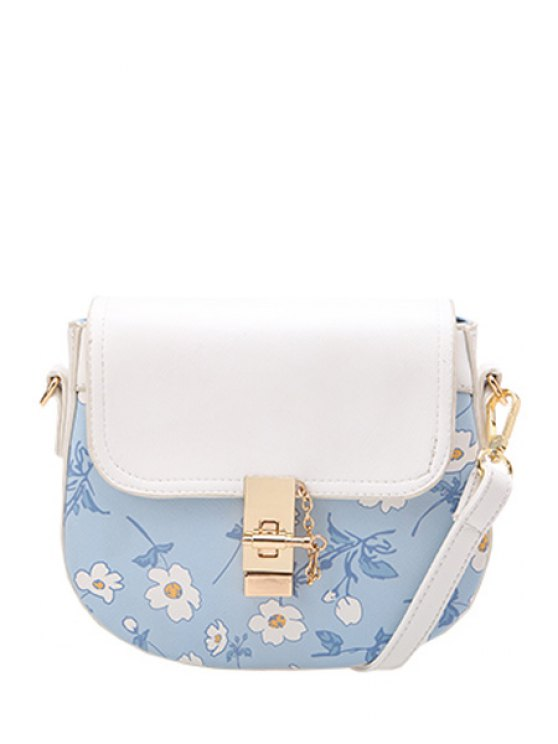 ladies Chains Floral Print Metal Crossbody Bag - LIGHT BLUE