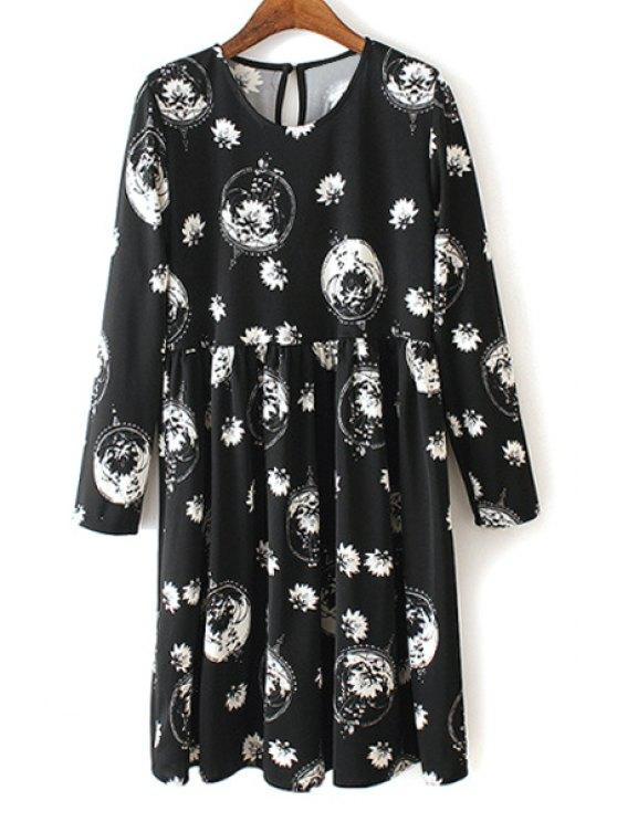 online V Neck White Floral Print Long Sleeve Dress - WHITE AND BLACK S