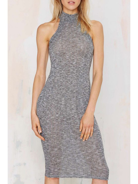 shop Stand Neck Fitted Sweater Dress - GRAY S