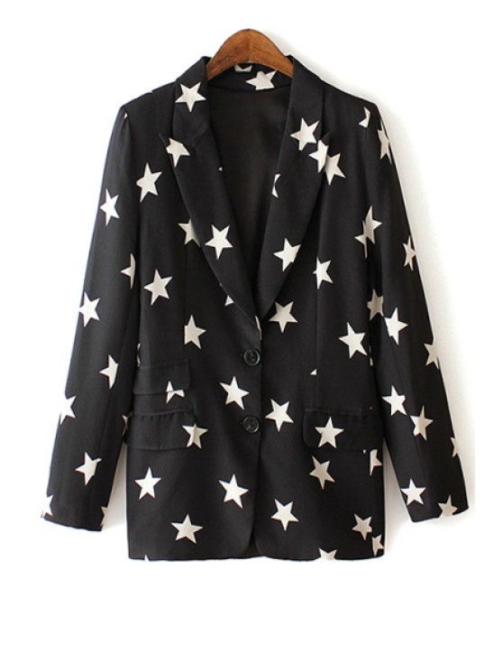 outfits Lapel White Star Print Long Sleeve Blazer - AS THE PICTURE S