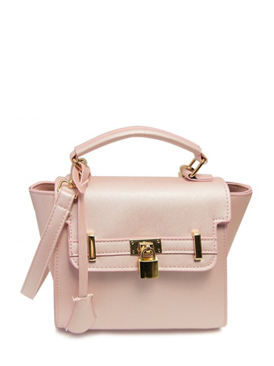new Rivets Metal Solid Color Crossbody Bag - PINK