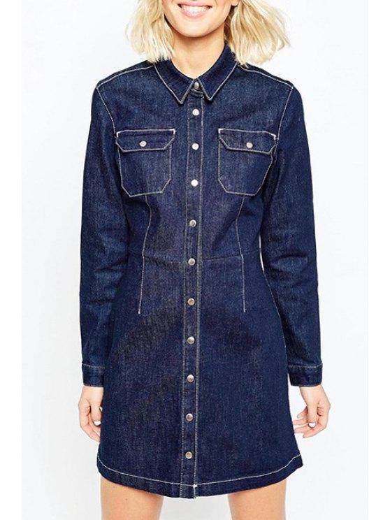 unique Long Sleeve Single-Breasted Denim Dress - BLUE L