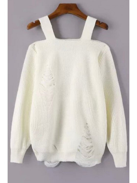 sale Broken Hole Square Neck Long Sleeve Sweater - OFF-WHITE ONE SIZE(FIT SIZE XS TO M)