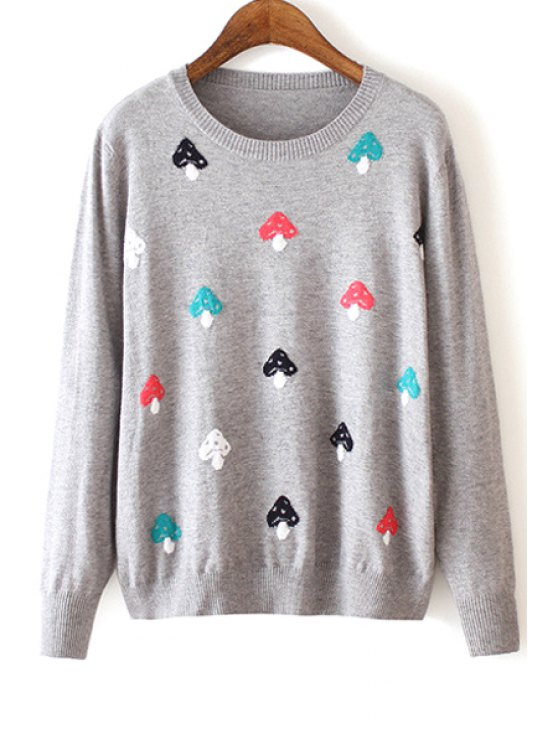 trendy Colorful Mushroom Pattern Long Sleeve Sweater - GRAY M