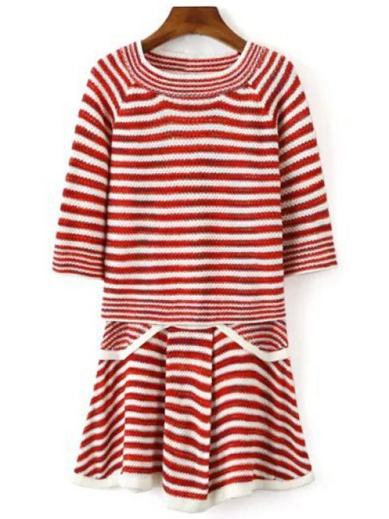 unique Striped Half Sleeve Sweater and Knit Skirt Suit - RED ONE SIZE(FIT SIZE XS TO M)
