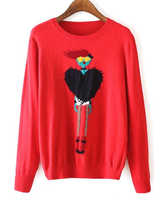 shops Figure Heart Pattern Long Sleeve Sweater - RED M