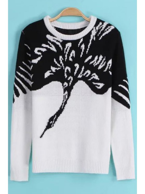 shop Swan Pattern Long Sleeve Pullover Sweater - WHITE S