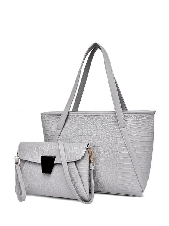 fashion Crocodile Print Zipper Solid Color Shoulder Bag - LIGHT GRAY