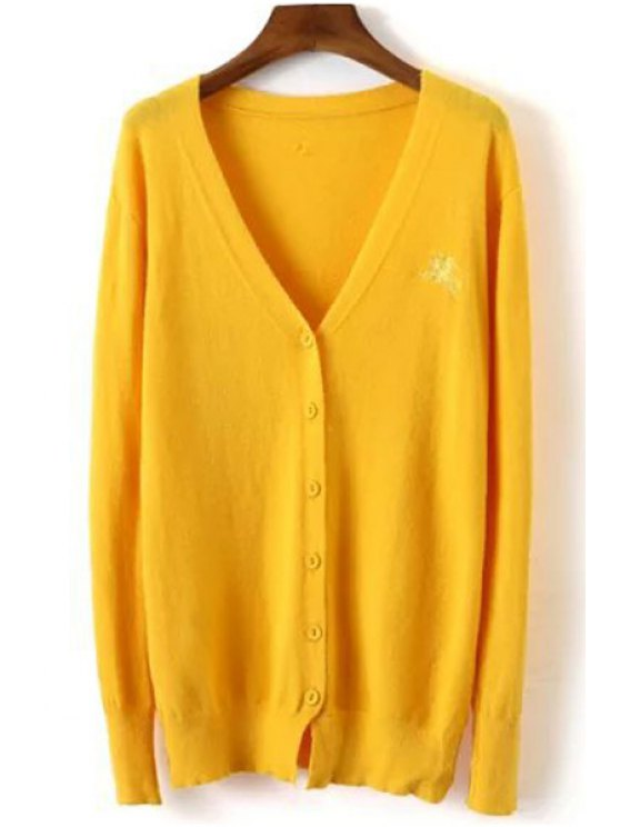unique Pure Color Plunging Neck Long Sleeve Cardigan - YELLOW ONE SIZE(FIT SIZE XS TO M)
