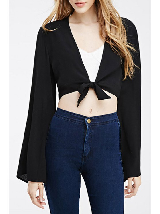fancy Bell Sleeve Self-Tie Black Crop Top - BLACK S