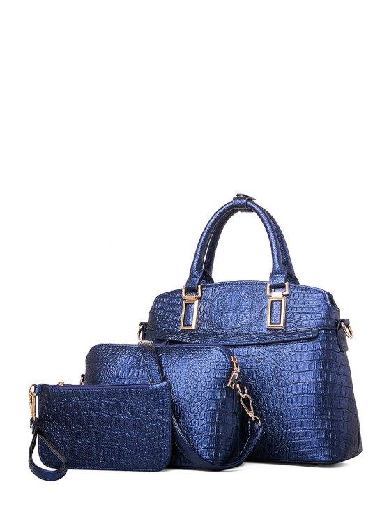 women Solid Color Crocodile Print Metal Tote Bag - DEEP BLUE