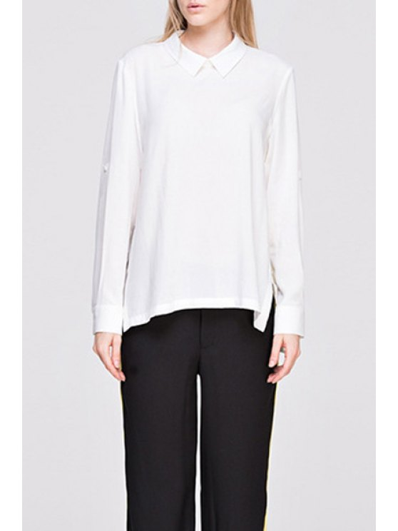 lady Long Sleeve Side Slit White Convertible Shirt - WHITE S