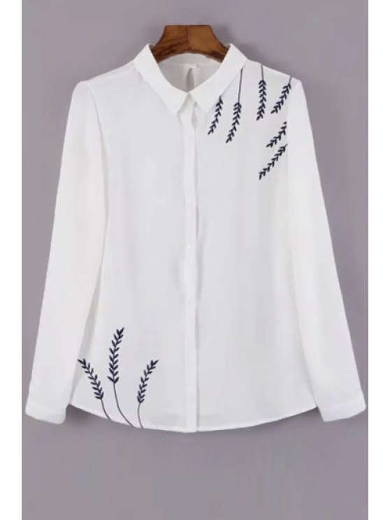 best Leaf Embroidery Shirt Neck Long Sleeve Shirt - WHITE S