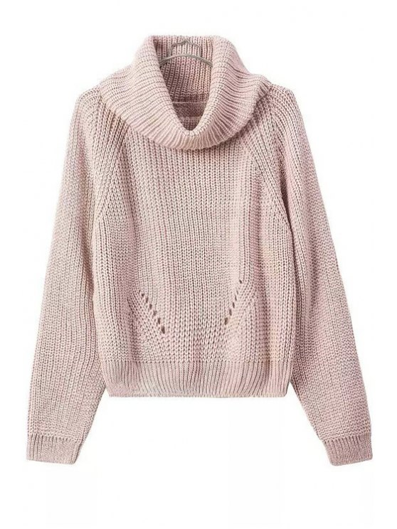 lady Turtle Neck Openwork Solid Color Sweater - PINK ONE SIZE(FIT SIZE XS TO M)
