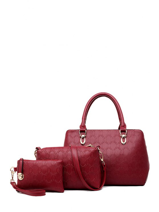 best Zipper Solid Color Metal Tote Bag - WINE RED