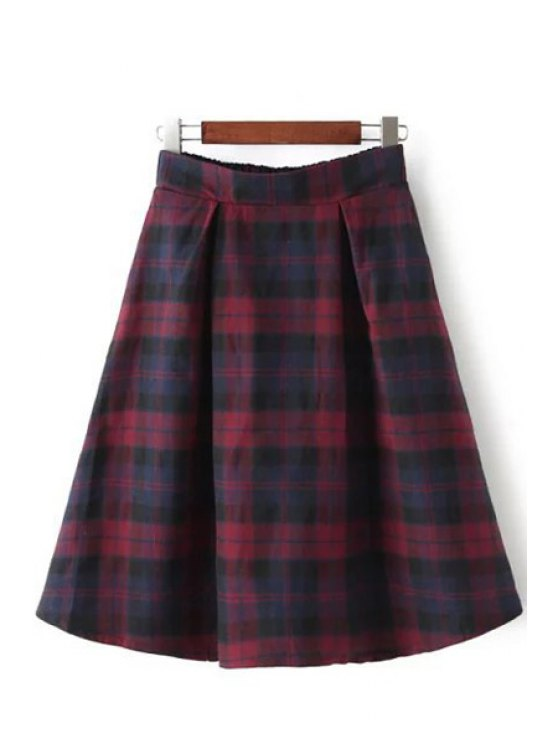 buy Color Block Checked Skirt - RED M
