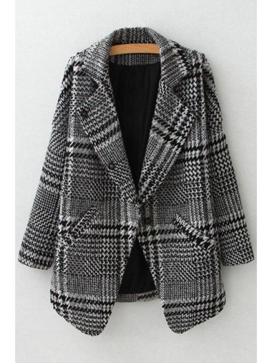 women's Lapel Stripe Checked Long Sleeve Trench Coat - GRAY S