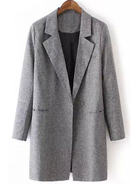 trendy Gray Lapel Long Sleeve Maxi Blazer - GRAY M