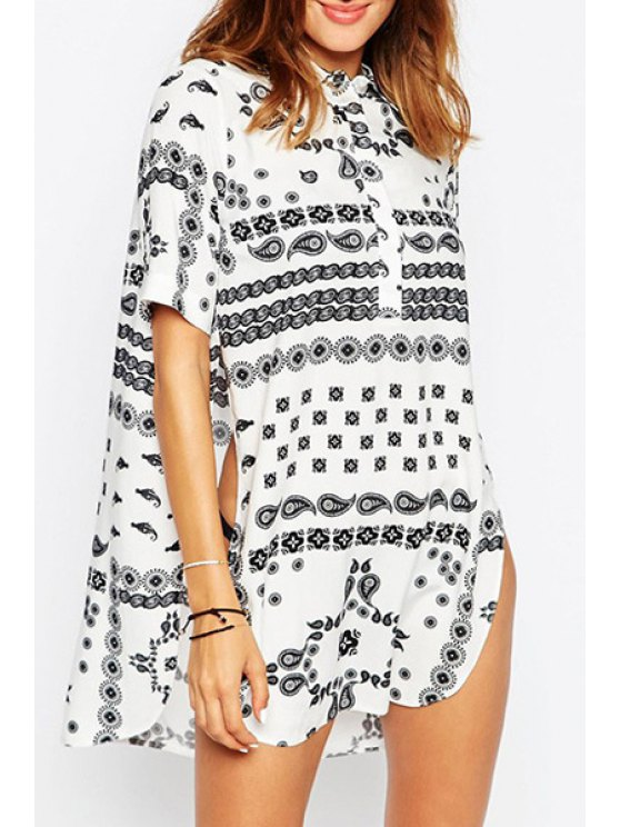 shop Short Sleeve Printed High Slit Blouse - WHITE S