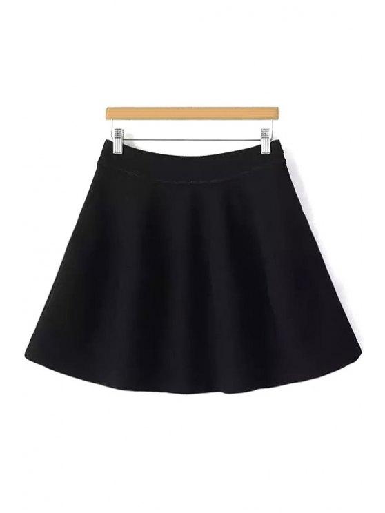 womens Solid Color Flounce High Waisted Skirt - BLACK S