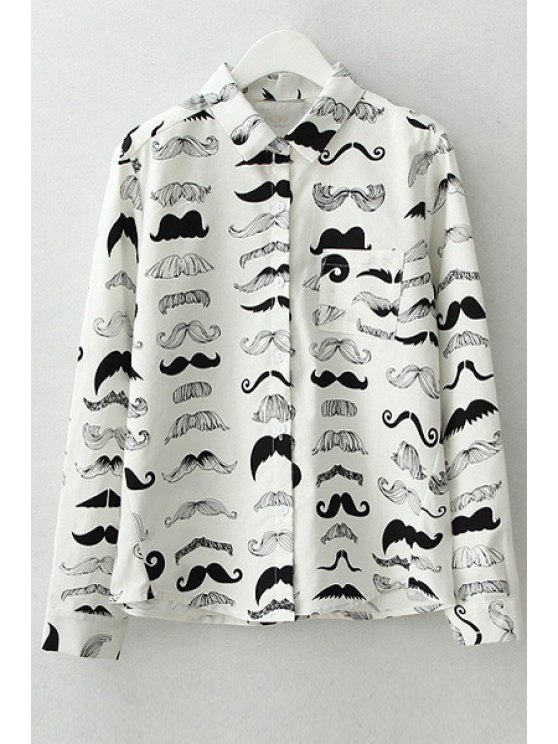 shop Black Mustache Print Long Sleeve Shirt - WHITE S