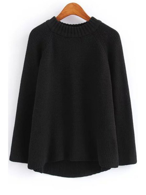 hot Solid Color Round Neck Long Sleeve Jumper - BLACK ONE SIZE(FIT SIZE XS TO M)