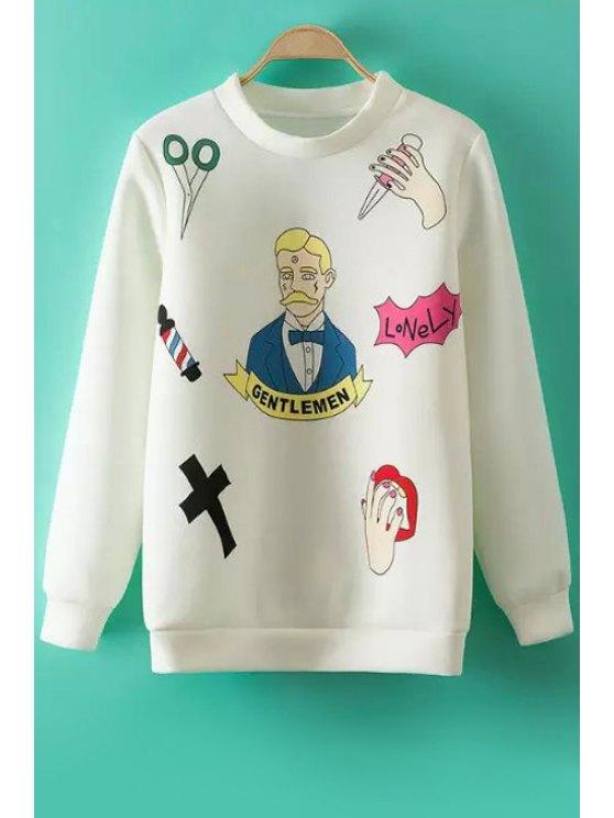 outfit Figure Palm Print Long Sleeve Sweatshirt - WHITE S