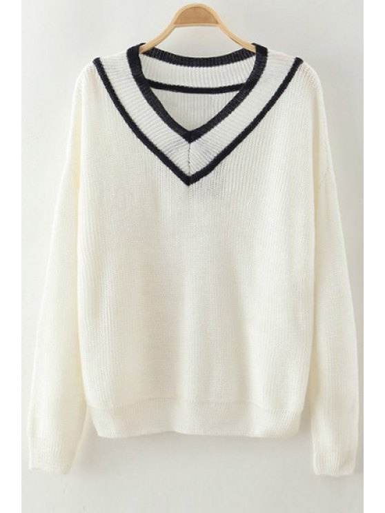 best Pure Color V Neck Long Sleeve Pullover Sweater - OFF-WHITE ONE SIZE(FIT SIZE XS TO M)
