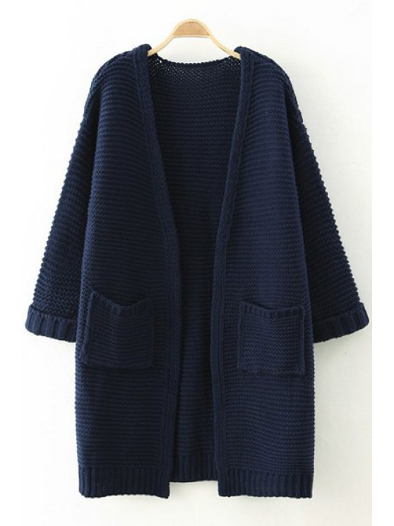 outfit Pure Color Long Sleeves Pocket Cardigan - CADETBLUE ONE SIZE(FIT SIZE XS TO M)