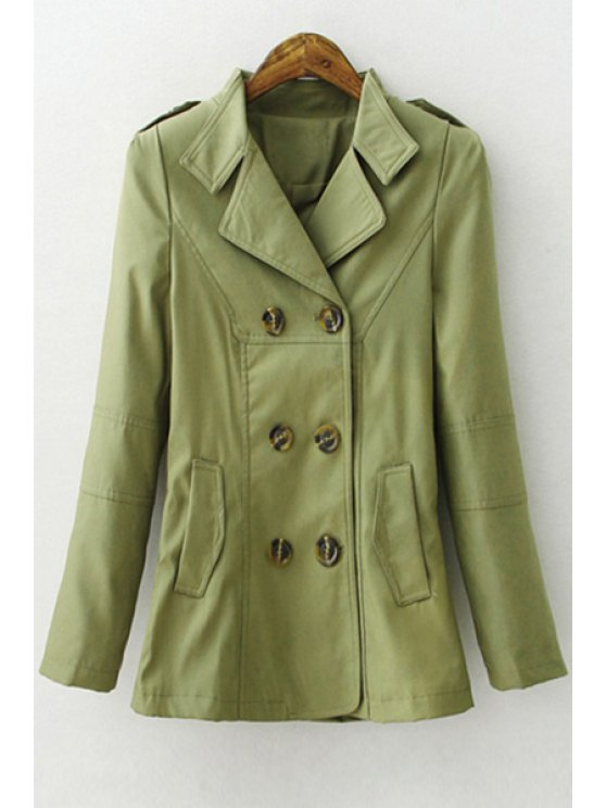 online Solid Color Lapel Long Sleeves Trench - ARMY GREEN L