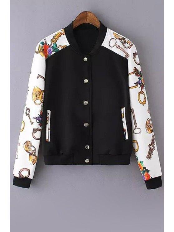 trendy Key Print Spliced Baseball Jacket - WHITE M