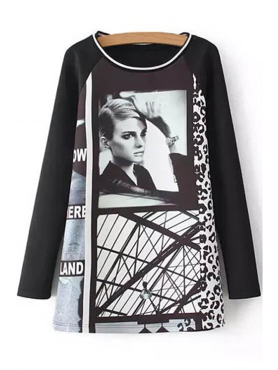 online Woman Print Scoop Neck Long Sleeve Dress - BLACK S